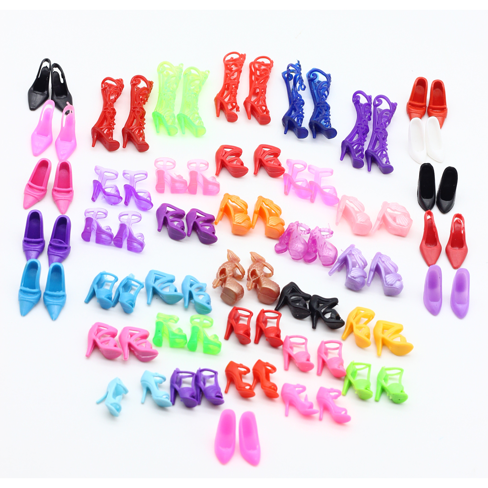 60pair lot New Doll Shoes Bandage Bow High Heel Sandals for Barbies Accessories Toys Fixed Styles