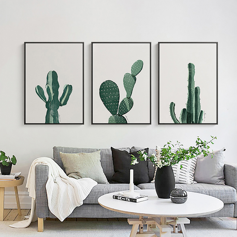Buy nordic minimalist cactus canvas wall for Wall art paintings for living room