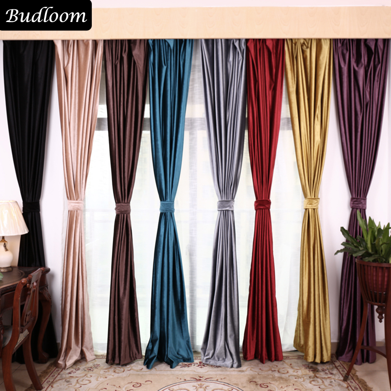 US $19.11 50% OFF|Solid classic luxury curtains for bedroom velvet curtains  for villa red gray yellow blue black brown purple window drapes panel-in ...