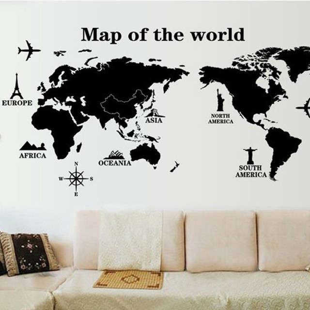 Charming World Map Wall Sticker Black DIY Removable Home Decor Office Room Decals  Wall Quote Vinyl Poster Pictures Gallery