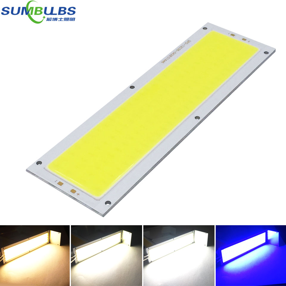 SUMBULBS 10W LED COB Strip Light Bulb Lamp 1000LM DC 12V Warm Natural Cold White Blue 120x36mm LED Chip Light Source for DIY 120mmx36mm warm white pure white cob led strip lamp lights bulb 10w 1000lm super bright 12v 24v for diy high quality