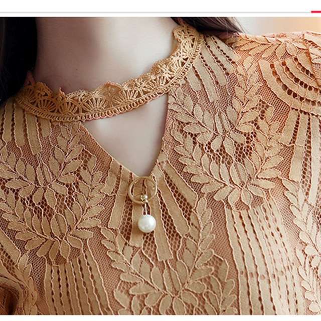 2017 Autumn Women Lace Blouse Long Sleeve Fashion Blouses and Shirts Crochet Blusas Casual Female Clothing Plus Size Femme Tops 4