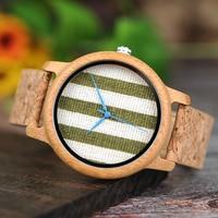 Reloj de madera unisex dial textil rayas cuadros 3