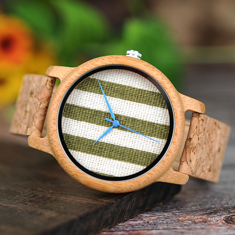 BOBO BIRD Cloth Dialplate Bamboo Wood Watch for Men Leather Strap Japan Quartz Wood Watches Women as Fashion Accessories Multan