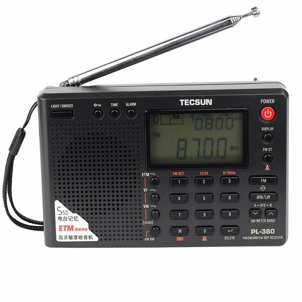 Pl-380 DSP Radio FM MW SW LW Récepteur Horloge Alarme Noir + FM Extérieure