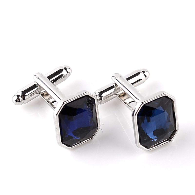 Square Crystal Cufflinks For Mens French Shirt Blue Purple Orange Pink Cuff Links Party Office Cufflink Buttons Valentine's Gift