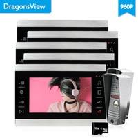 Dragonsview 7 дюймов видеодомофон дверной звонок проводной визуальный 960 P проводной дверной звонок Домашний домофон 5 мониторов 2 панели записи