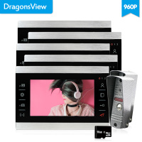 Dragonsview 7 inch Video Door Intercom Doorbell Phone Wired Visual 960P Wired Doorbell Home Intercom 5 Monitors 2 Panel Record