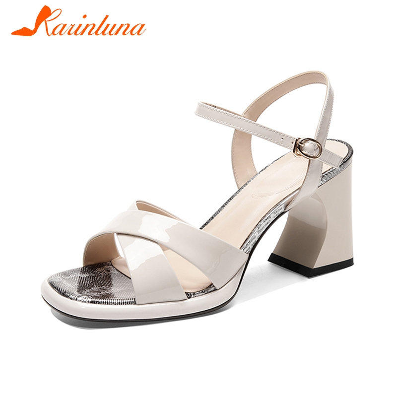 KARINLUNA/Лидер продаж, Модные женские сандалии из коровьей кожи с пряжкой на ремешке, необычный стиль 2019, женская обувь, обувь черного и серого ц...