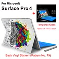 2017 New Design For Surface Pro 4 Stickers Tablet Vinyl Decal Netbook Brain Skin+Explosion-proof Tempered Glass Screen Protector