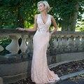 2017 Moda Mãe do Vestido Da Noiva Sexy Profundo Decote Em V Convidado Do Casamento Sheer Voltar Apliques de Renda Roupa Formal Festa À Noite vestido