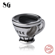 SG classic style Beads coffee cup craft Charms 925 Sterling Silver Fit personalized pandora charm Bracelet Jewelry making Gifts cxm 001 eighteen arhats style agalloch bracelet coffee