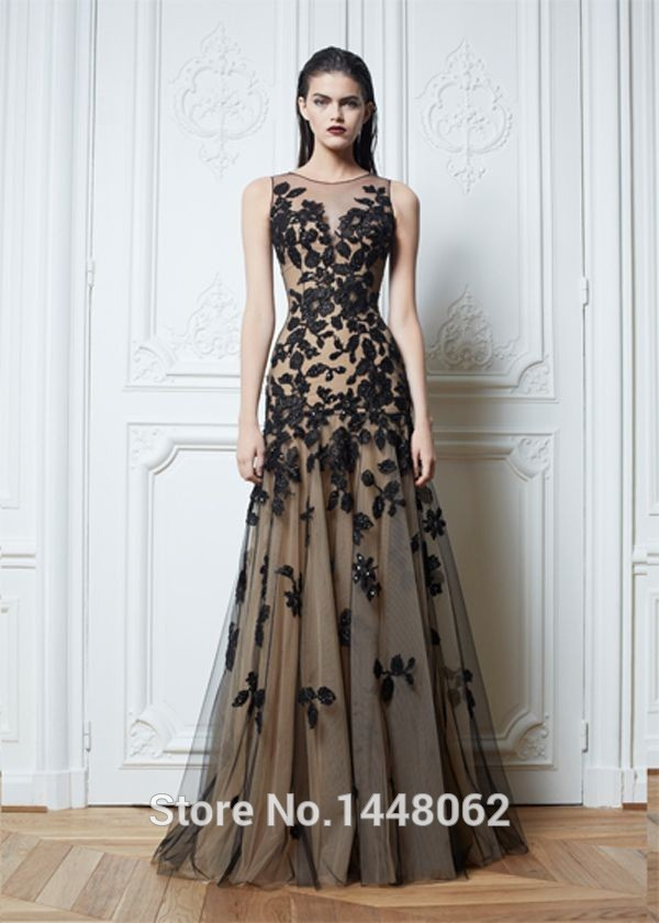 Black Lace Kaftan Dubai Long Evening Dresses Zuhair Murad Elegant ...