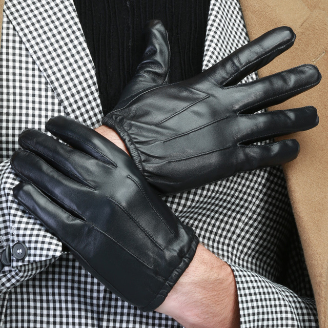 2015 men new arrived high quality fashion autumn winter warm Vouge Time silk line classic hot touch screen driving glove mittens