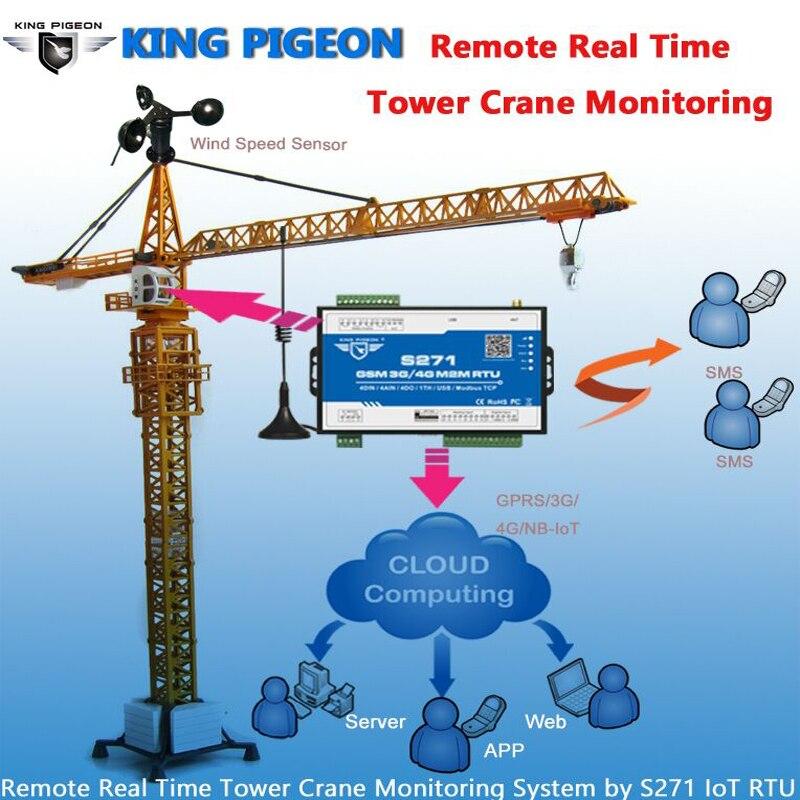 IOT M2M RTU Modbus Slave GSM 3G 4G Alarm Remote Control Tower Crane Monitoring Data Acquisition Scalable IO Port S271
