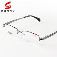 High Quality Aspheric Reading Glasses Men Brand Gun Gray Half Frame Eyeglasses Resin Lens Reader Male