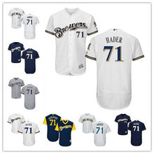b10211b4098 Men s Milwaukee Brewers  71 Josh Hader Authentic Navy Alternate Home Grey  Road Flex Base White Cool Base Player Jersey