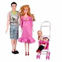 5 unids/set familia 5 personas Muñecas Trajes 1 papá 1 mamá embarazada 1 muchacho 1 muchacha 1 Baby carriage real muñeca embarazada regalos ropa al azar