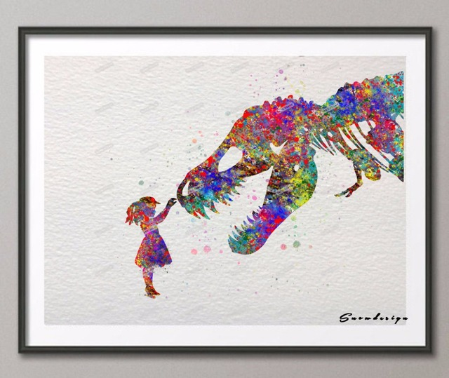 Original watercolor trex dinosaur with girl poster prints pictures canvas painting modern wall for Canvas prints childrens bedrooms