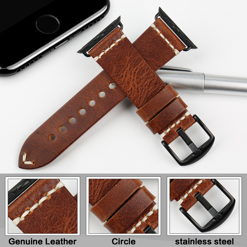 Image 2 - MAIKES Vintage huile cire cuir Bracelet de montre pour Apple Bracelet de montre 44mm 40mm 42mm 38mm série 4/3/2 iWatch montre Bracelet Bracelet de montrestrap for apple watchwatch strapleather watch strap -