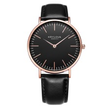 KRYLOVA Top Brand Fashion Ladies Klockor Läder Kvinnor Quartz Watch Kvinnor Tunna Casual Strap Watch Reloj Mujer