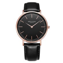 KRYLOVA Top Brand Fashion Ladies Women Watches Luxury Leather Female Quartz Watch Women Thin Casual Strap Watch Reloj Mujer hot sale top luxury gold watch fashion long leather bracelet watch women watches ladies bangle quartz watch hour reloj mujer