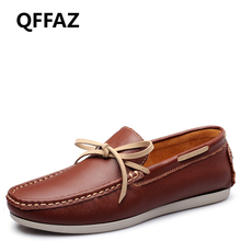 QFFAZ New Fashion Driving Comfortable Casual Shoes Genuine Leather Shoes Men Flats Moccasins Men Oxfords Shoes Drop Shipping