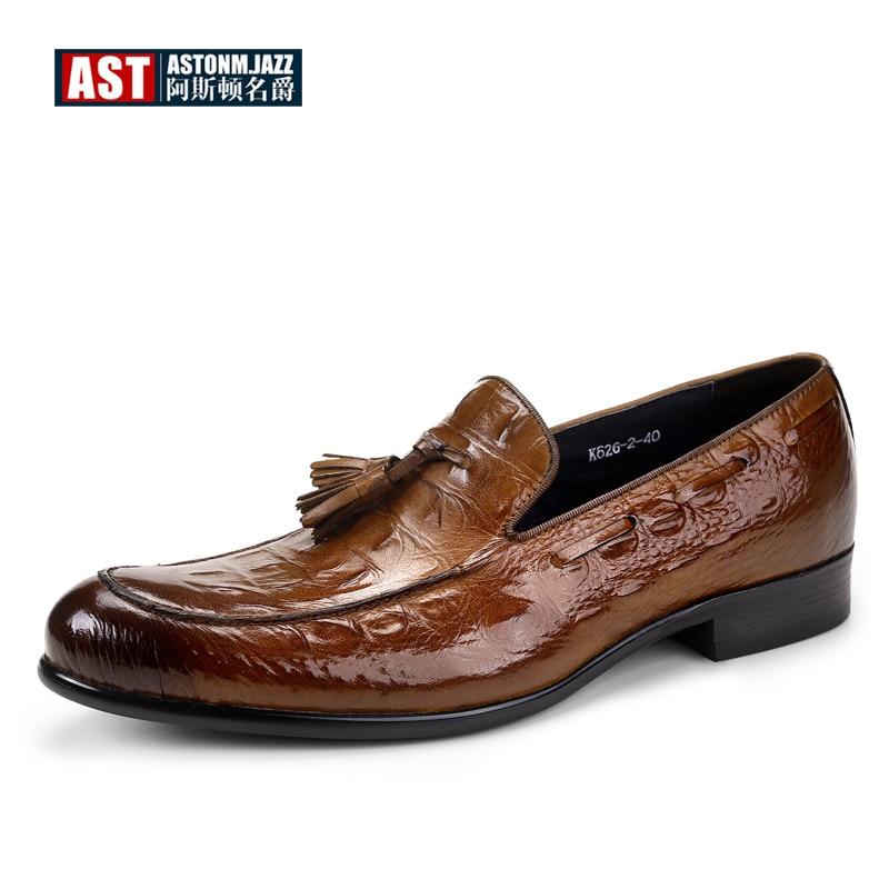 US 6-11 Big Size Mens Tassel Oxfords Genuine Leather Pointed Toe Shoes Business Man Alligator Dress Shoes
