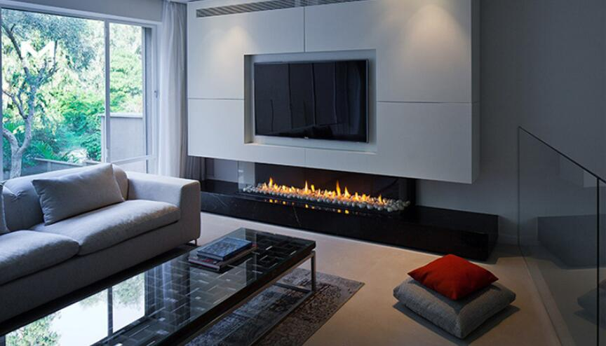 36 Inch Silver Or Black Real Fire RS485  RS232 Dry Contact Intelligent Smart Ethanol Burning Fireplace