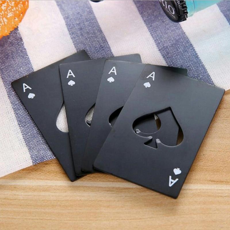 Black/Silver Poker Card Beer Bottle Opener Personalized Stainless Steel Credit Card Bottle Opener Card Of Spade Bar Kitchen Tool