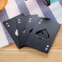 Black/Silver Poker Card Beer Bottle Opener Personalized Stainless Steel Credit of Spade Bar Kitchen Tool