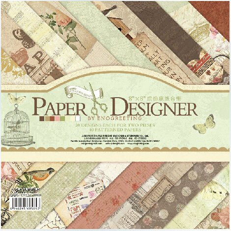 ENO Greeting Scrapbooking Craft Paper 8 inch Vintage PAPER DESIGNER Scrapbooking Paper Set