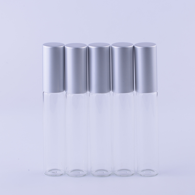 10 ml 50 pieces lot Refillable Glass Roll on Bottles With 10 CC Essential Oil Metal
