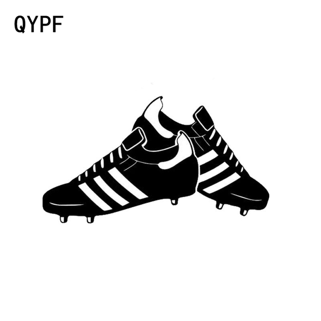 Qypf 14cm8cm fashion football shoes sports car window car stickers black silver s2