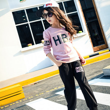 Wear a new girl on behalf of 2016 letters HBA printing long sleeved T-shirt + pant suit SY348 baby girl clothes