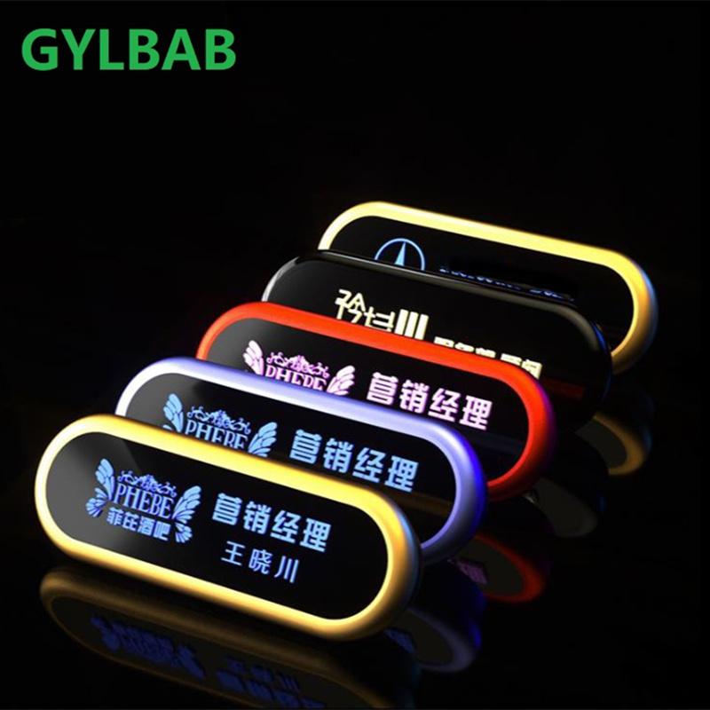 GYLBAB LED Name Tag Badge Night Light Bulb Magnet And Pin Rechargeable Sign Dots Rechargeable Waiter Staff Employee Event