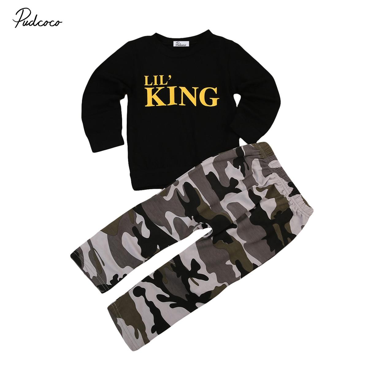 2pcs Newborn Toddler Kids Baby Boys Clothes T-shirt Tops+Long Pants Outfits Set