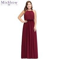 2019 burgundy Bridesmaid Dresses plus size Long Chiffon Wedding Bridesmaid Gown Elastic Waist Formal Party Gowns Vestido Dresses