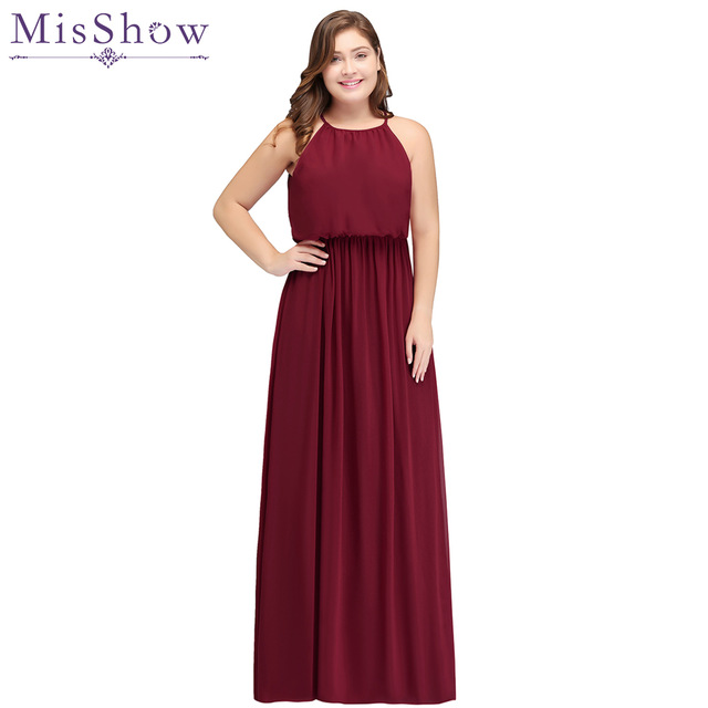 2019 burgundy   Bridesmaid     Dresses   plus size Long Chiffon Wedding   Bridesmaid   Gown Elastic Waist Formal Party Gowns Vestido   Dresses