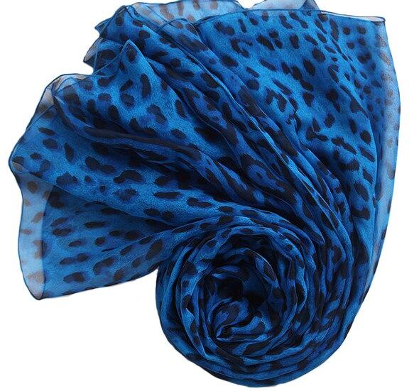100% pure silk large square summer scarves Blue leopard print scarf jersey muslim hijab designer brand silk pashmina