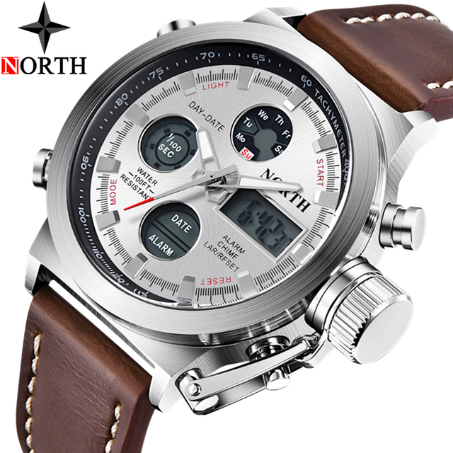 North Mens Watches Top Brand Luxury Quartz Military Watches Men Leather Sports LED Digital Electronic Watch Relogio Masculino 3