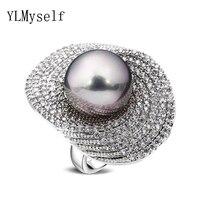 2018 nowe pierścienie z 5 kolory 14mm shell pearl dla kobiety Panie hurtownie biżuteria Kwiat liść Lotosu Moda kryształ duży pierścień