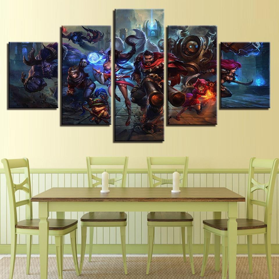 Modular Canvas Pictures Wall Art Home Decor 5 Pieces League Of ...