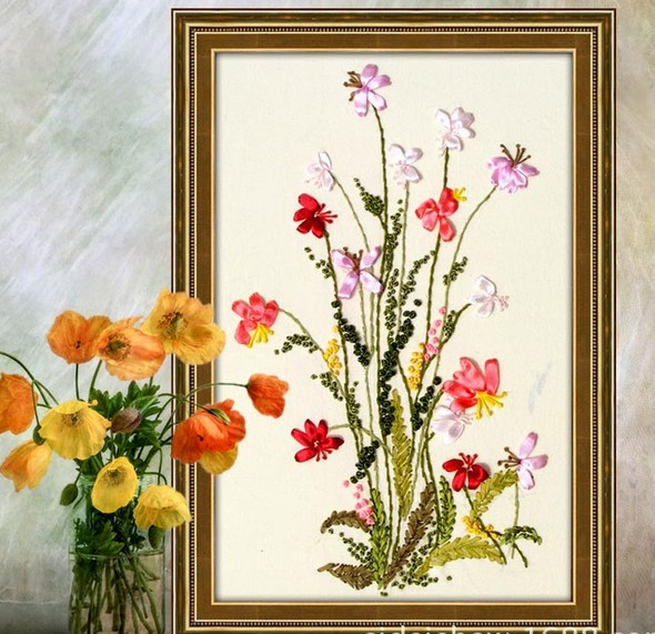 Flower Ribbon Embroidery Wheat Painting Handcraft Cross Stitch Kits