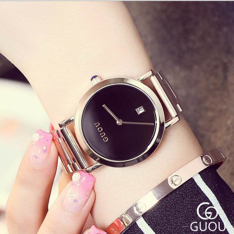 GUOU Top Brand Luxury Wrist Watch Women Watches Fashion Rose Gold Women's Watches Auto Date Ladies Watch Clock relogio feminino серьги