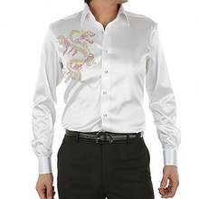 Новое поступление модный дизайн китайский дракон Кристалл крепление Мужская шелковая рубашка Повседневная с длинным рукавом размера плюс мужская рубашка