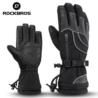 ROCKBROS Winter Cycling Bike Gloves Warm Thermal Full Finger Windproof Mittens Women Men Bicycle Skiing Outdoor