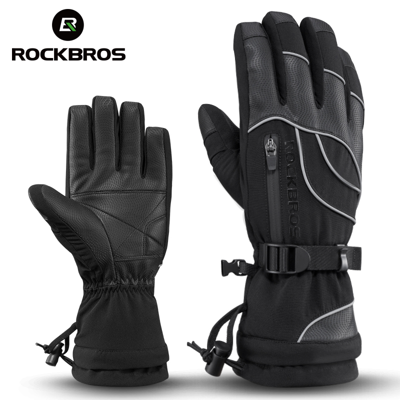 ROCKBROS Winter Cycling Bike Gloves Warm Thermal Full Finger Windproof Mittens Women Men Bicycle Skiing Outdoor Sports Gloves