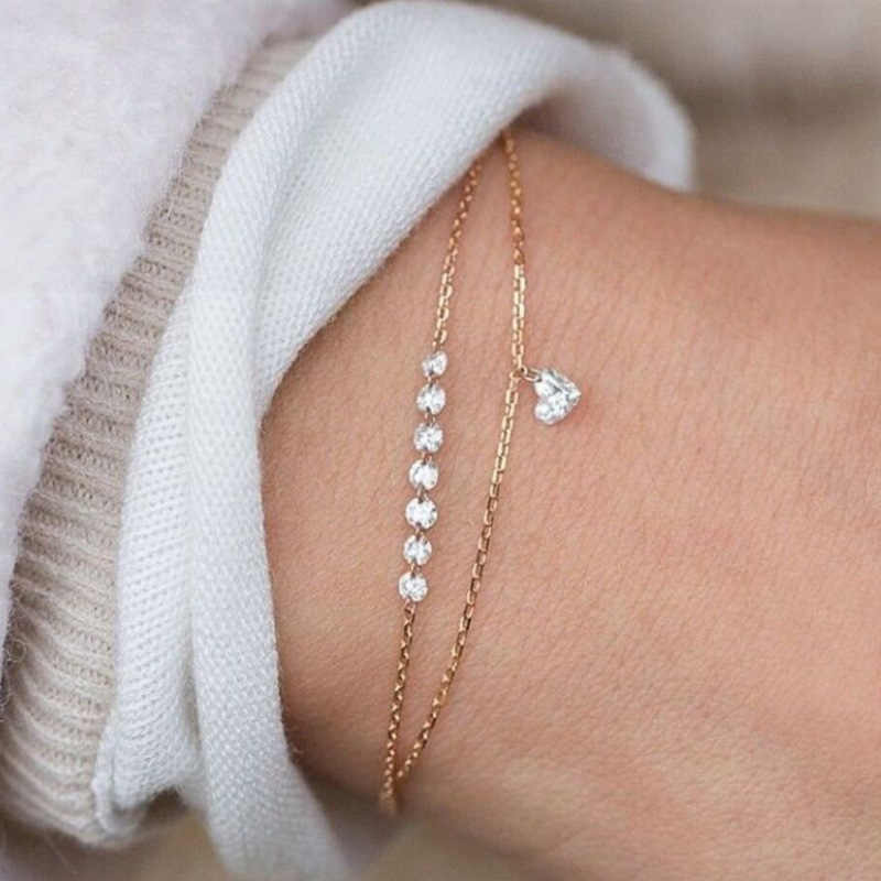 Simple Fashion Gold Infinity Bracelet Bangle Slave Chain Link Hand Harness Bracelets Finger Circle Fashion Jewelry