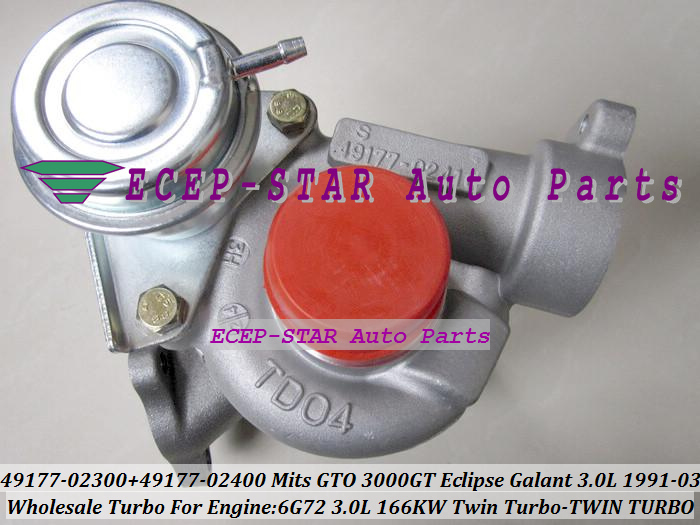 Free Ship Pairs Twin Turbo TD04 49177-02300 49177-02400 Turbocharger For MITSUBISHI GTO3000GT Eclipse Galant Dodge 91- 6G72 3.0L